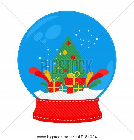 snow globe Christmas tree in vector format eps10