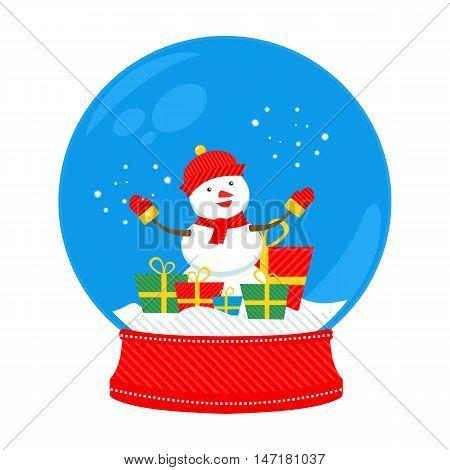 snow globe snowman in vector format eps10