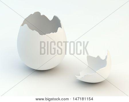 Broken eggshell isolated on white , Cracked egg , Easter , 3d illustration