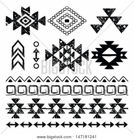 Navajo hand drawn print, retro Aztec pattern, Tribal design elements with scratches