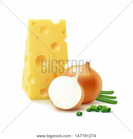 Vector Triangular Piece of Swiss Cheese with Fresh Whole and Sliced Yellow Onion Bulbs with Chopped Green Onions Close up Isolated on White Background Close up Isolated on White Background