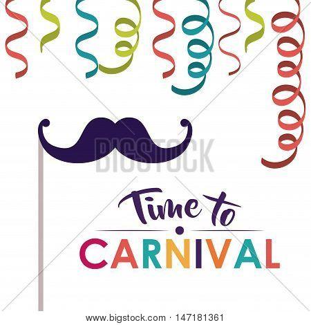 mustache and streamer  icon. Festival and carnival season theme. Colorful design. Vector illustration