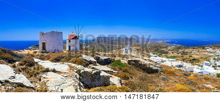Traditional islands of Greece - old windmills in Amorgos, Cyclad