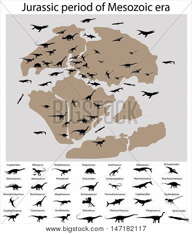 Dinosaurs of jurassic period of mesozoic era on the map