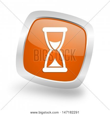 time square glossy orange chrome silver metallic web icon