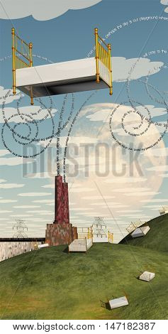 Fantasy Landscape with Floating Bed and factory with text billowing from chimney 3D Render  Text is my own creation