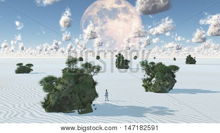 White Sands with Rock Islands Oasis 3D Render   Some elements provided courtesy of NASA