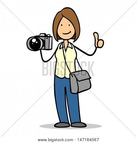 Cartoon woman with camera as photographer holding thumbs up