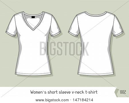 Women short sleeve v-neck t-shirt Template for design, easily editable by layers.