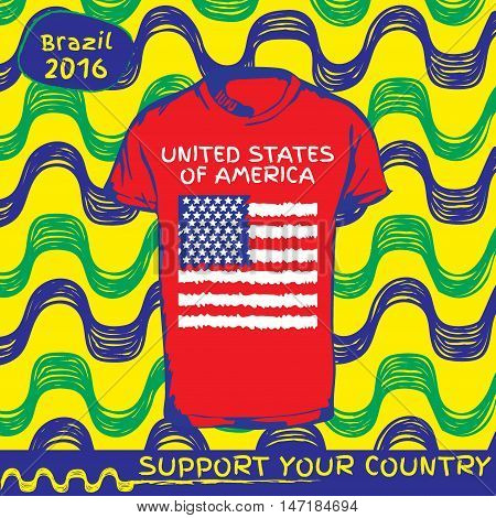 Hand drawn vector. vector pattern with t-shirt with country flag. Support your country. Ipanema, brazil, 2016 pattern. National flag. United States of America