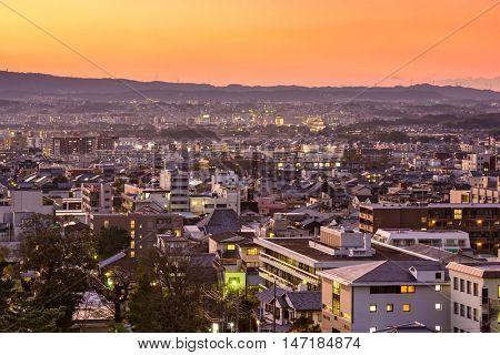 Nara, Japan downtown cityscape at dusk.