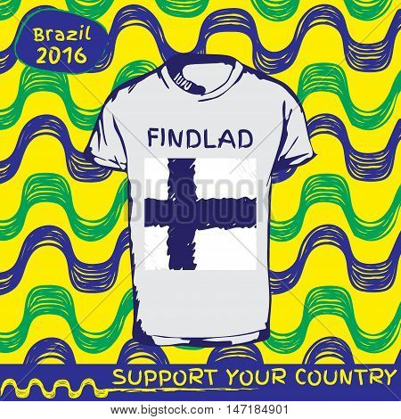Hand drawn vector. vector pattern with t-shirt with country flag. Support your country. Ipanema, brazil, 2016 pattern. National flag. Findland