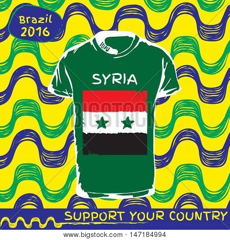 Hand drawn vector. vector pattern with t-shirt with country flag. Support your country. Ipanema, brazil, 2016 pattern. National flag. Syria