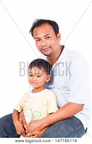 portrait of father and son on white background