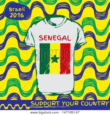 Hand drawn vector. vector pattern with t-shirt with country flag. Support your country. Ipanema, brazil, 2016 pattern. National flag. Senegal
