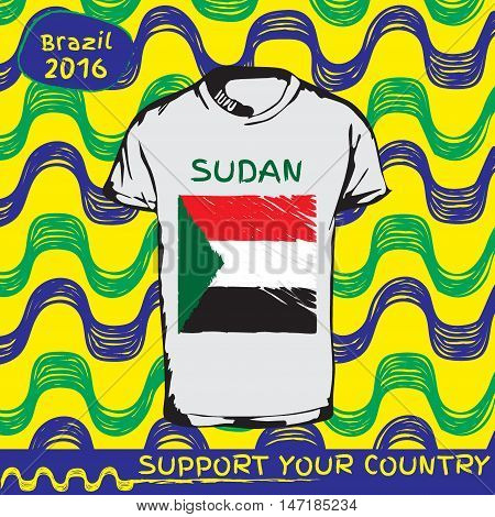 Hand drawn vector. vector pattern with t-shirt with country flag. Support your country. Ipanema, brazil, 2016 pattern. National flag. Sudan