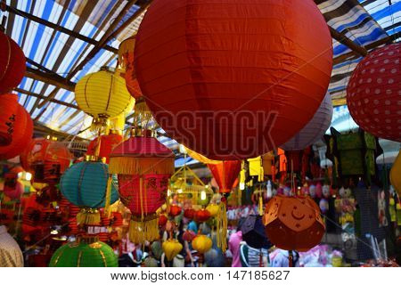 Colorful Lanterns Decoration In Mid-autumn Festival