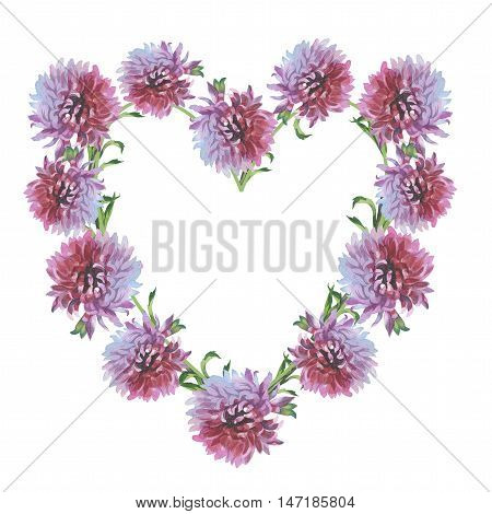Wildflower chrysanthemum flower frame in a watercolor style isolated. Full name of the herb: chrysanthemum, dahlia. Aquarelle flower could be used for background, texture, pattern, frame or border.
