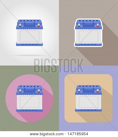 car battery flat icons vector illustration isolated on background