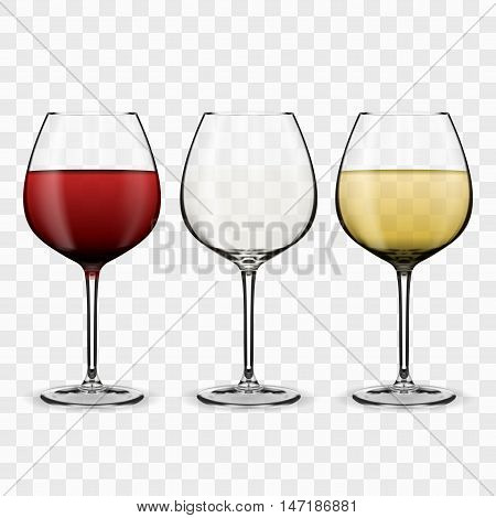 Tree Glasses With Wine. Red wine. White wine. Empty glass. EPS10 Vector