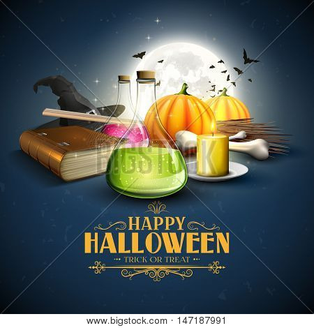 Halloween greeting card - Tubes with potions old book and pumpkins on blue background