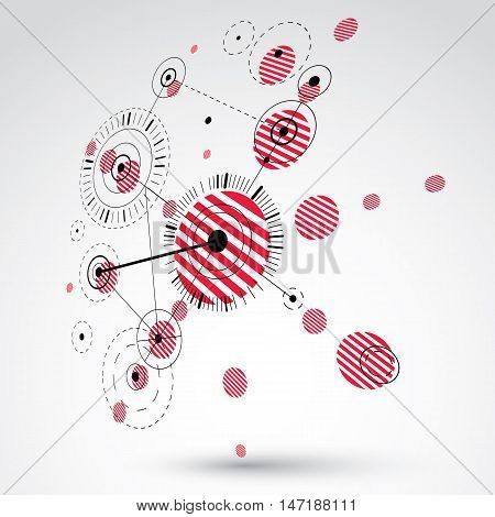Bauhaus art dimensional composition perspective red modular vector backdrop with circles and grid. Retro style pattern graphic backdrop for use as booklet cover template.