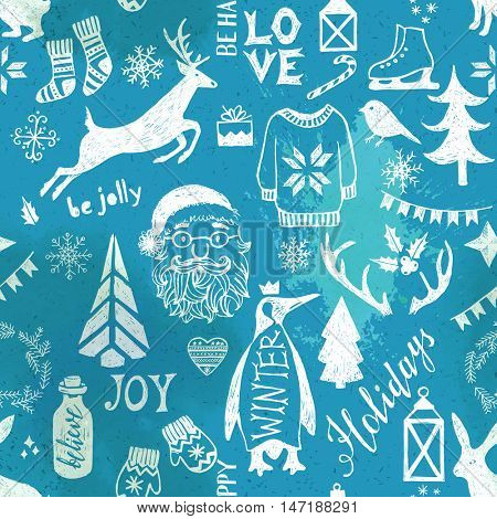 Hand drawn Christmas seamless pattern on blue background