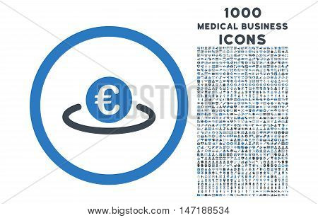 Euro Placement rounded vector bicolor icon with 1000 medical business icons. Set style is flat pictograms, smooth blue colors, white background.