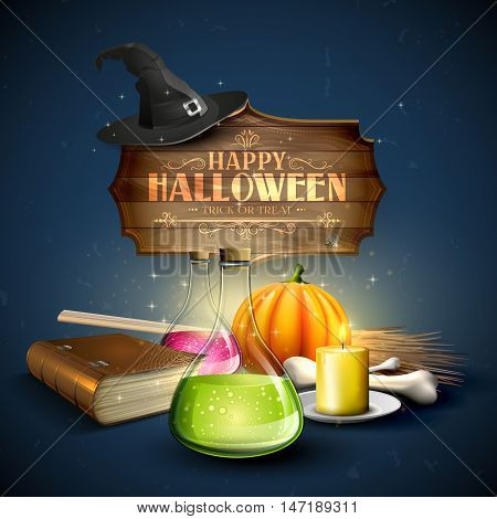 Halloween greeting card - Tubes with potions old bookpumpkins and wooden sign on blue background