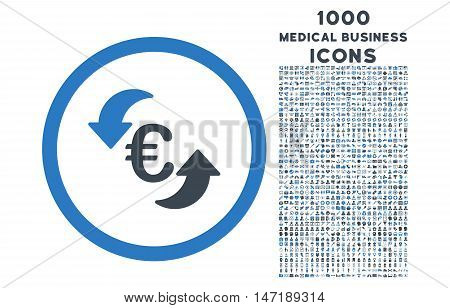 Update Euro rounded vector bicolor icon with 1000 medical business icons. Set style is flat pictograms, smooth blue colors, white background.