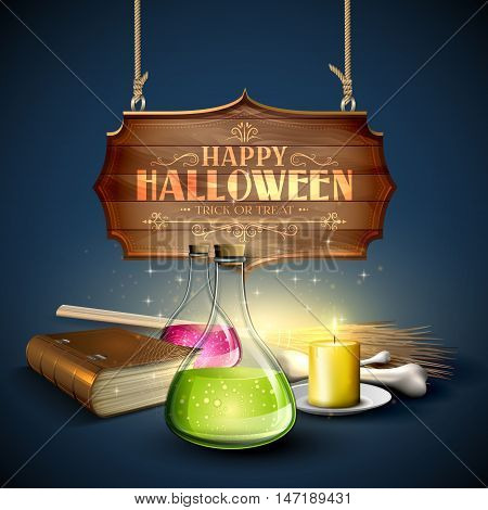 Halloween greeting card - Tubes with potions old book pumpkins and wooden sign on blue background
