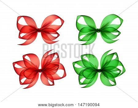 Vector Set of Colored Bright Green Red Scarlet Transparent Gift Bows of Different Shapes Close up Isolated on White Background