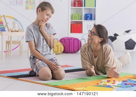 Homeschooling Her Son