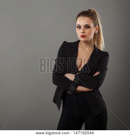 Business Girl Posing In The Studio