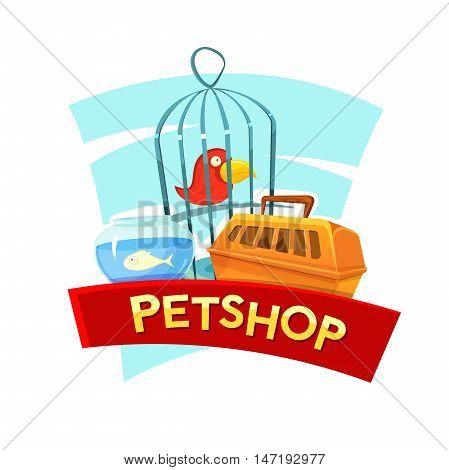 Petshop concept design with aquarium fish, cage birds and container carrying animals, vector illustration