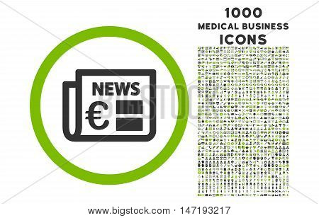 Euro Newspaper rounded vector bicolor icon with 1000 medical business icons. Set style is flat pictograms, eco green and gray colors, white background.