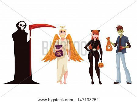People dresses in death, monster, angel and cat woman Halloween costumes, cartoon style vector illustration isolated on white background. Death, monster, angel and cat fancy dress ideas for Halloween