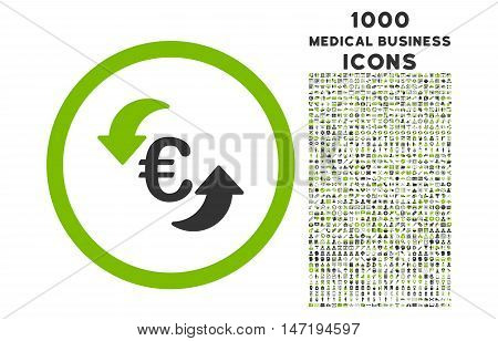 Update Euro rounded vector bicolor icon with 1000 medical business icons. Set style is flat pictograms, eco green and gray colors, white background.