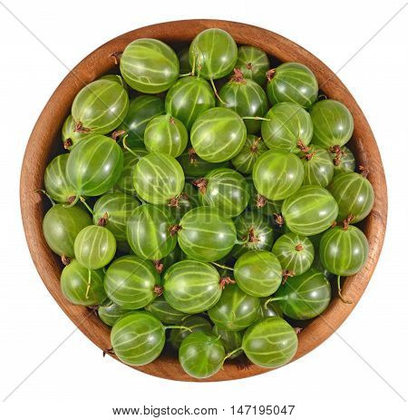 Fresh Green Gooseberry In A Wooden Bowl On A White