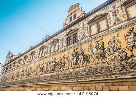The Fürstenzug (Procession of Princes) mural in Dresden, Germany