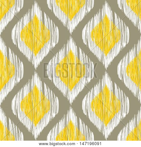 Yellow, white and grey rhomb seamless pattern in native ikat style. Traditional middle east and african ethnic background for textile, web and print design