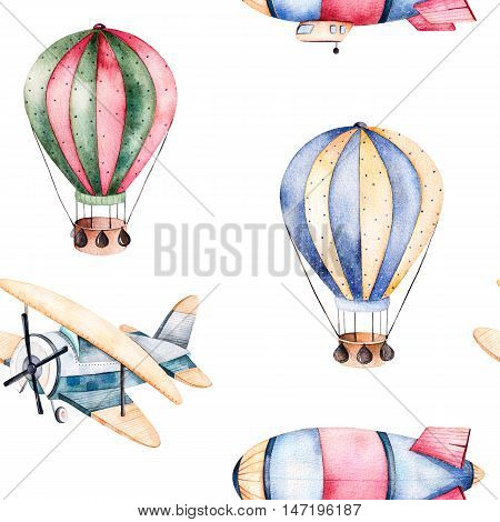 Seamless pattern with air balloons,airship and the plane in pastel colors.