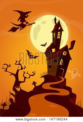 Scary old ghost haunted house. Halloween card or poster. Vector illustration