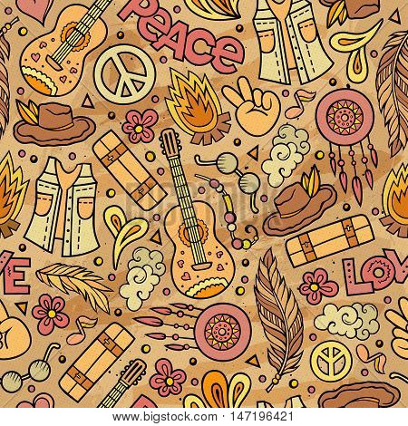 Cartoon cute hand drawn Hippie seamless pattern. Colorful detailed, with lots of objects background. Endless funny vector illustration