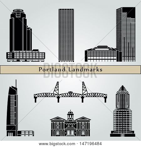 Portland landmarks and monuments isolated on blue background in editable vector file