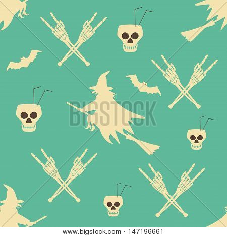 Hell Halloween party seamless pattern. Walpurgis Night. Human skulls as goblets with drinking straws, skeleton hands in rock 'n' roll gesture, bats and witches flying on broomsticks