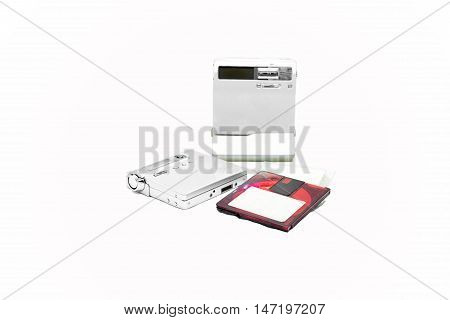 Mini Disc and player isolated on white background