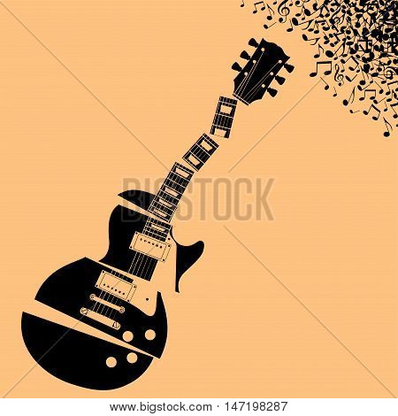 Fractured Guitar Music background with space for type