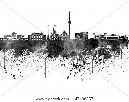 Stuttgart Skyline In Black Watercolor On White Background
