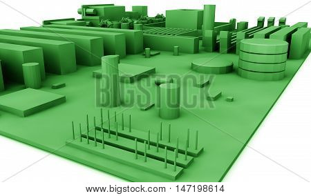 motherboard on a background of green. 3d render